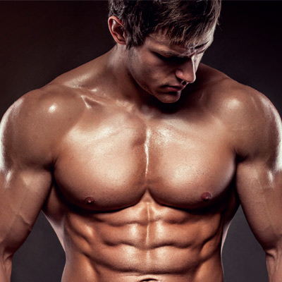 Picture of person shirtless in good shape, maintaining his protein intake.